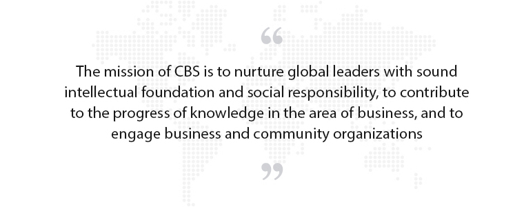 The mission of CBS is to nurture global leaders with sound